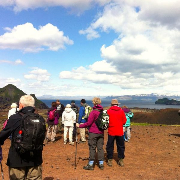 Hiking in Vestmannaeyjar lava volcano Westman Islands